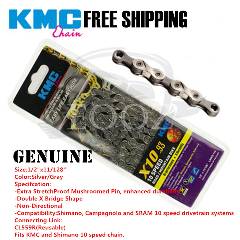 KMC X10.93 10-Speed Silver /& Gray Bicycle Chain fits SRAM Shimano Road//MTB