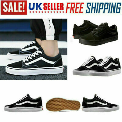 VAN Old Skool Skate Shoes Black/White All Size Classic Canvas Sneakers UK