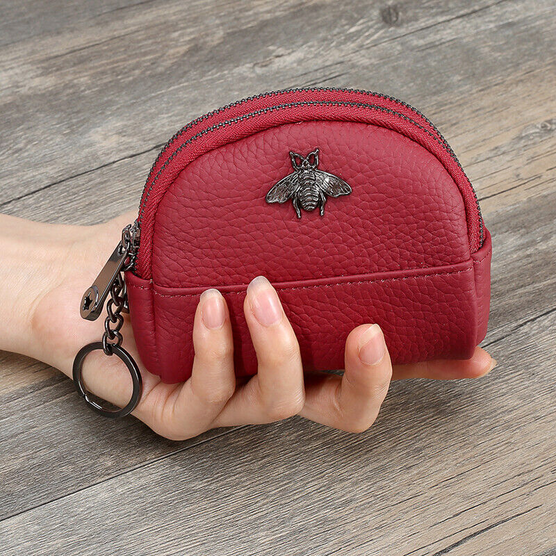 Double Zipper Women Leather Mini Wallet Card Holder Coin Key Purse Clutch Bag US Clothing, Shoes & Accessories