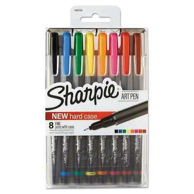 Sharpie Art Pens Fine Point Assorted Colors Hard Case 8 Pack 1982056 New