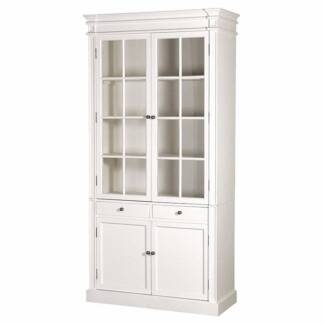 French Provincial Glass Display Cabinet /Bookcase in White---