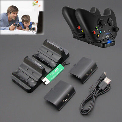 Dual USB Charger Dock + 2 Rechargeable Battery Packs For Xbox One Controller UK