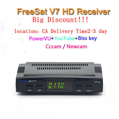 DVB-S2 Freesat V7 Satellite Receiver Decoder Full HD 1080P Support Powervu