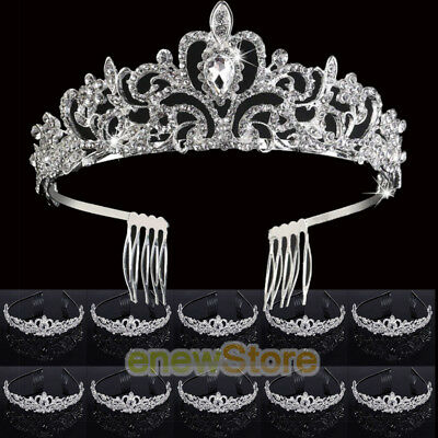 Bulk Tiaras (10x Wedding Bridal Princess Crystal Prom Hair Tiara Crown Veil Headband w/)