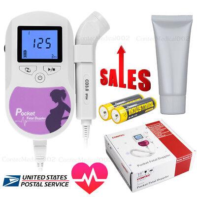 Us Seller Fda Prenatal Fetal Doppler 3mhz Probebaby Heart Monitorbacklight Lcd