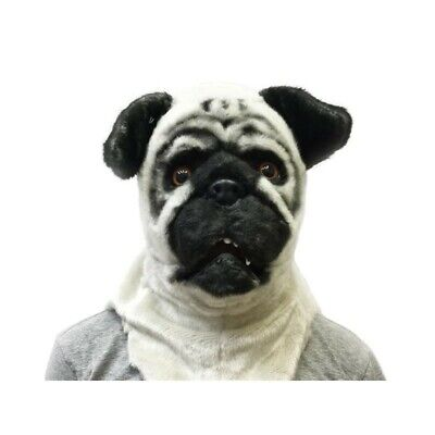 Adult Pug Costume (ADULT BULL DOG PUG PUPPY ANIMAL MOUTH MOVING FURRY COSTUME OVER THE HEAD MASK)