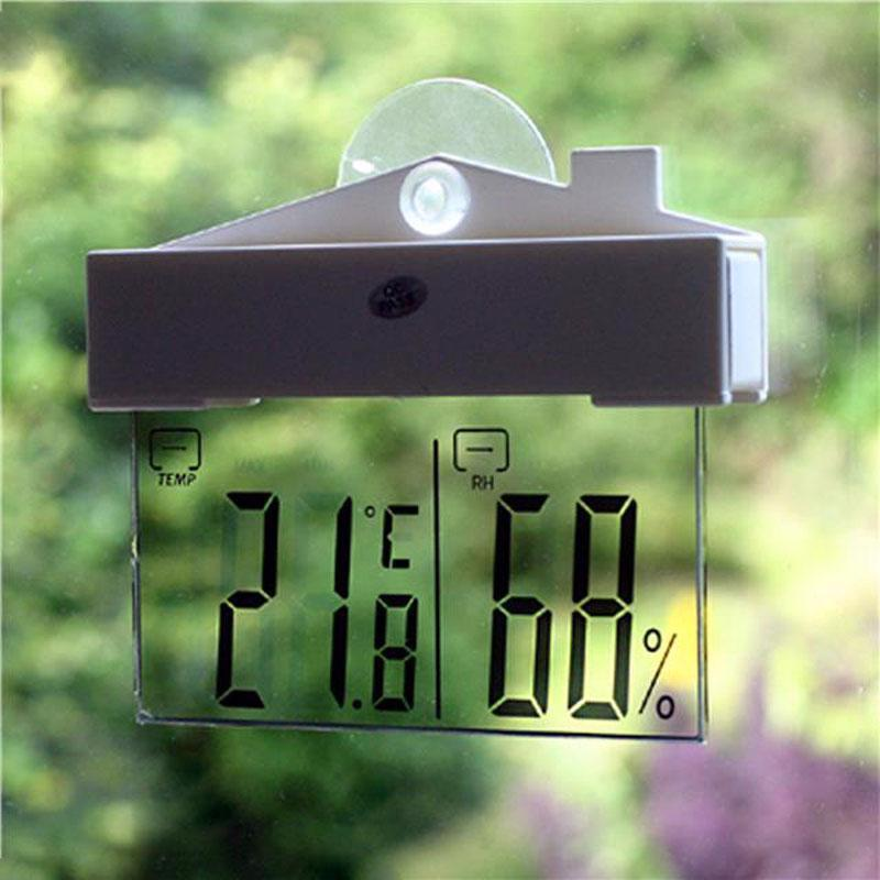 Digital Weather Station Suction Cup Indoor Outdoor Thermometer Large Lcd Window