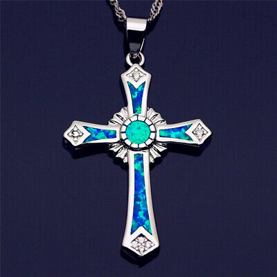 Delicate cross Design Silver Blue Opal Pendant Necklace Fashion Jewelry Gifts