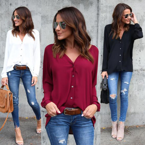 US Fashion Women's Long Sleeve Loose Blouse Casual Shirt Summer Tops T-Shirt