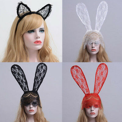 Halloween Cosplay Dance Party Rabbit Bunny Ears Headband With Lace Eye Mask  (Dance Party Halloween)