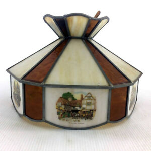 Antique Currier Ives Stained Glass ' Coach House ' Hanging Lamp