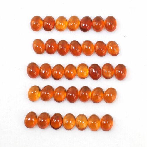 35 Pcs Natural Hessonite Garnet 7mm*5mm Oval Stunning Cabochon Gemstones Lot