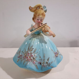 Josef Originals Girl Playing Violin Figurine Music Box