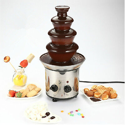4 Tiers Stainless Steel Hot New Luxury Chocolate Fondue Fountain Commercial New