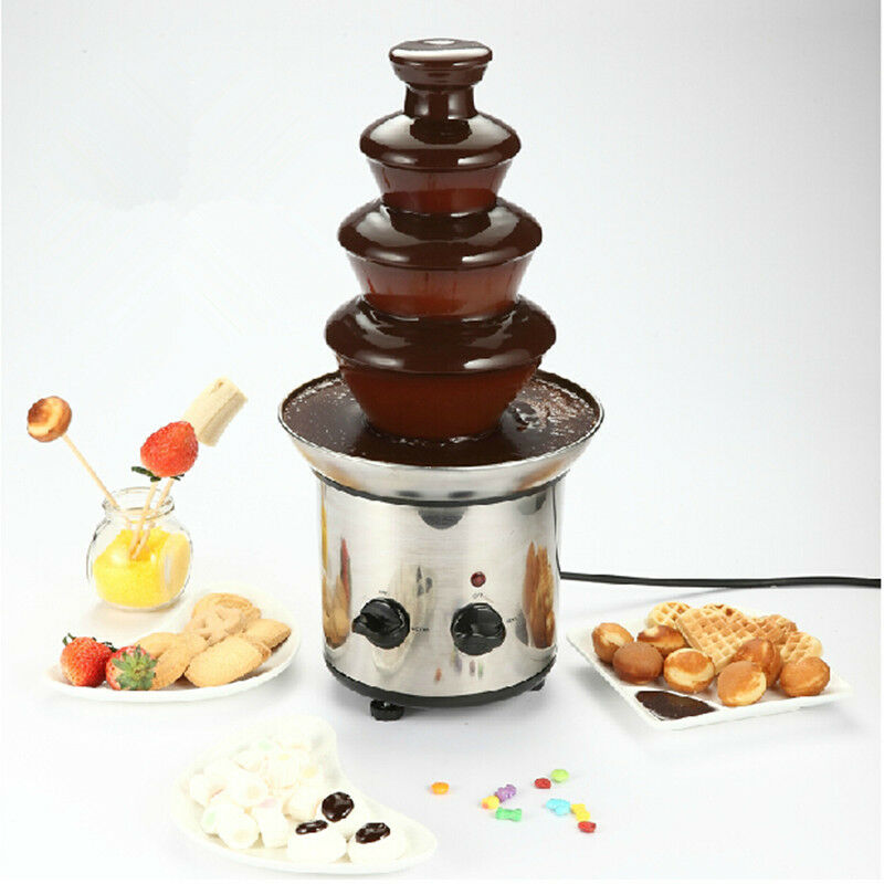 4 Tier Fondue Chocolate Fountain Maker Electric Set Pot Machine Stainless Steel