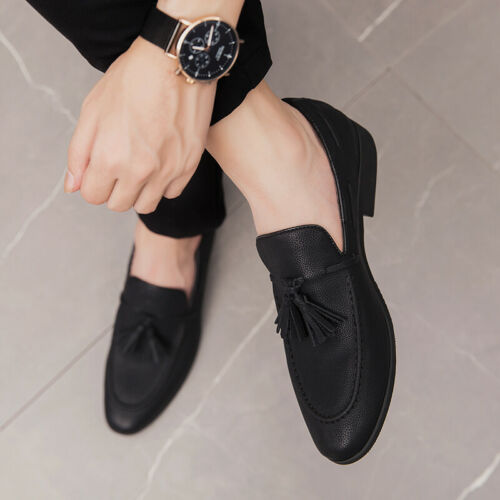 Mens Dress Formal Business Shoes Pointy Toe Tassels Oxfords Slip on Party Club L