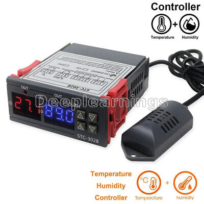 Stc-3028 Digital Ac110-220v Dual Lcd Temperature Humidity Controller Thermostat