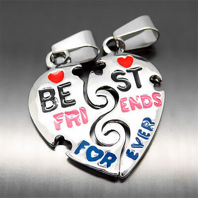 Best Friends Forever Heart Men Women Pendant with 2 pcs of 20