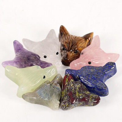 Wholesale Wolf Head Statue Pendant Natural Stone Crystal Quartz Carved Necklace