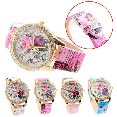 Fashion Luxury Flowers Mission Womens Colored Quartz Watch PU Leather Wristwatch
