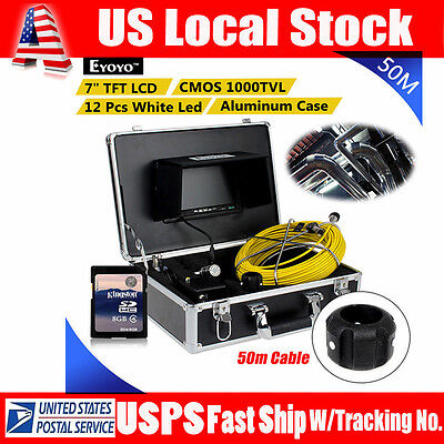 50m 164ft Sewer Pipe Pipeline Drain Inspection Snake Camera 8gb Dvr W7 Monitor