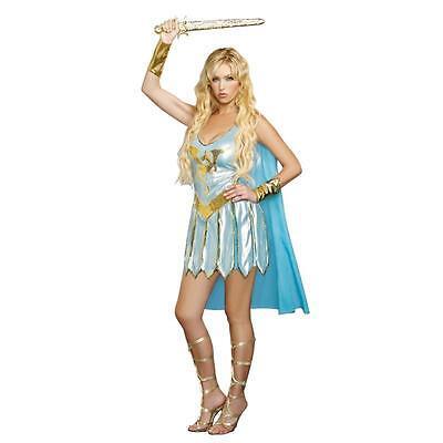 Ladies MEDIEVAL DRAGON WARRIOR QUEEN Costume Blue Dress Cape Adult Medium 6 8 - Dragon Warrior Costume