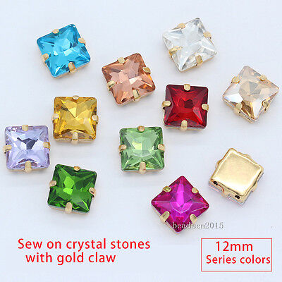 15p 12mm square sew on crystal glass rhinestone gold base buckle for clothes DIY