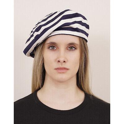 SZ M NEW $340 PRADA Woman's Navy Blue White STRIPED Popeline Cotton Beret HAT