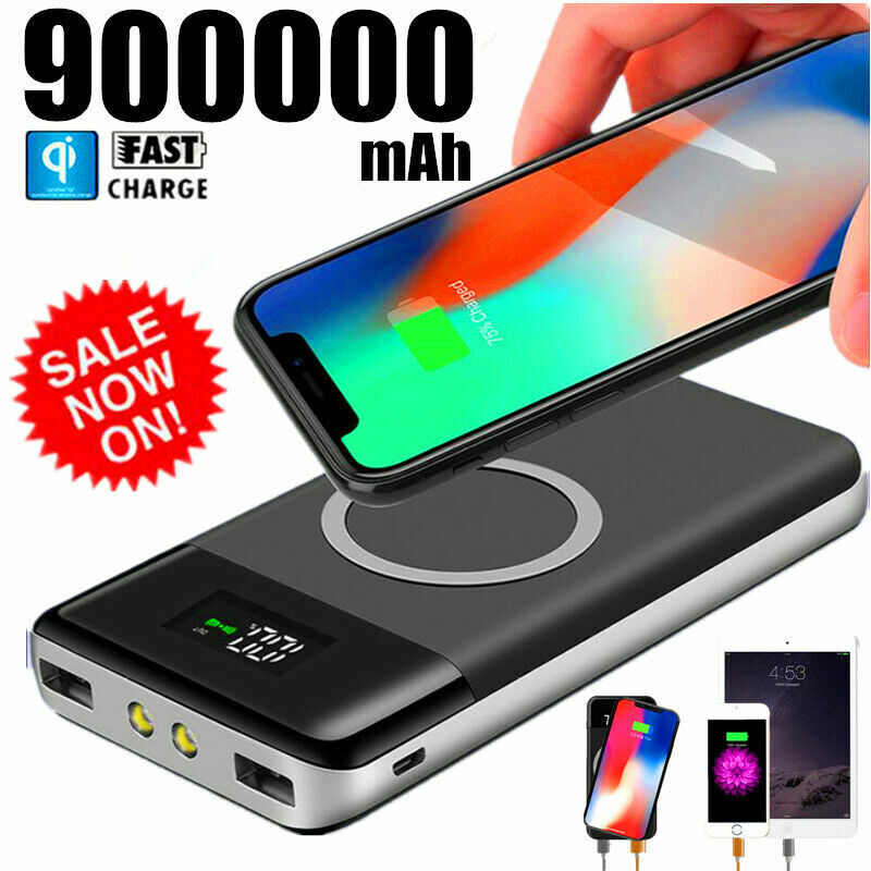 Qi Wireless Power Bank 900000mAh Backup Fast Portable Charger External Battery Cell Phone Accessories