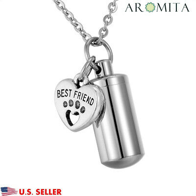 BEST FRIEND Paw Cylinder Cremation Jewelry Pet Urn Necklace Ash Holder Key