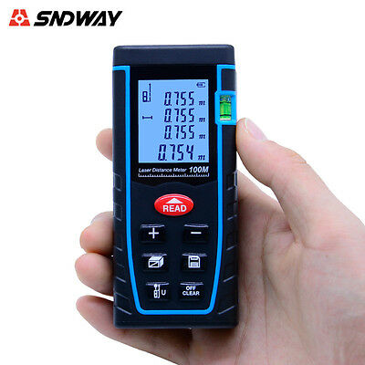 SNDWAY SW-T100 Hand-held Laser Distance Meter Measuring Range 100M/328FT
