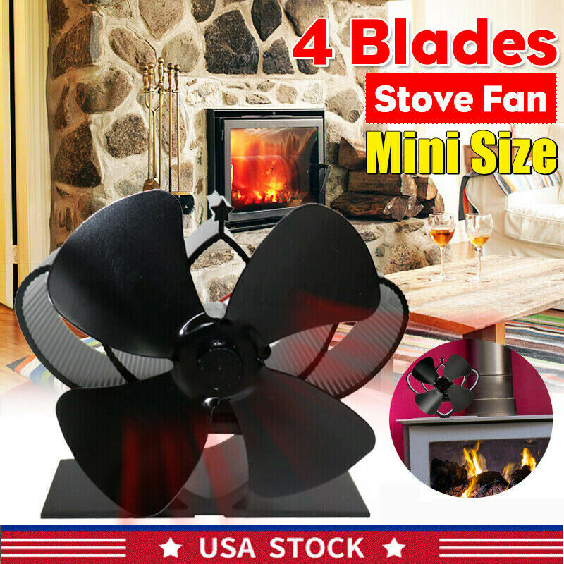 1800rpm Heat Powered Wood Stove Fan 4 Blades Wood Log Burner Fireplace Home Warm