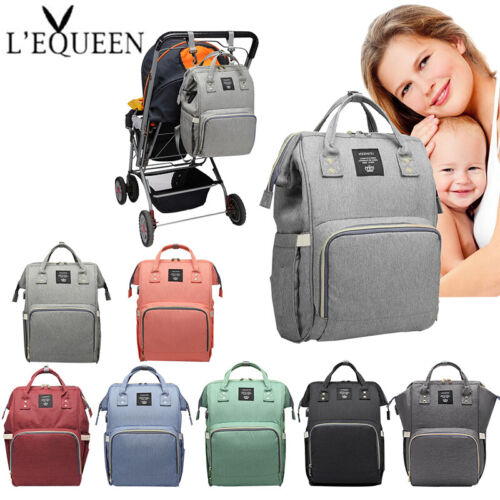 LEQUEEN Mummy Changing Nappy Diaper Bag Large Capacity Baby Bag Travel Backpack Baby