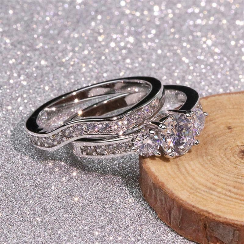 2pcs/set Women 925 Silver Rings Cubic Zirconia Wedding Set Jewelry Gift Sz 6-10