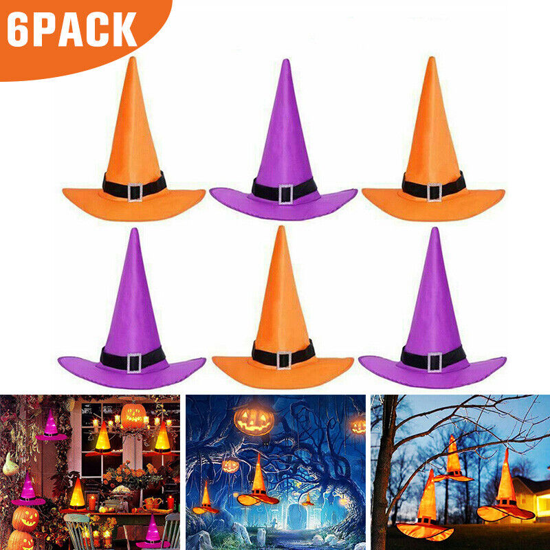 6x Halloween Decoration Hanging Lighted Glowing Witch Hat Colordul Outdoor Light