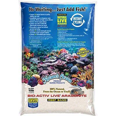 Nature's Ocean 10 lbs Natural White Bio-Activ Live Aragonite Reef Sand marine