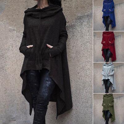 US Women Winter Hoodie Long Hooded Tops Casual Sweatshirt Sw