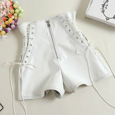 Ladies Black Leather Shorts (Lady Sexy Faux Leather Shorts Pants Bandage Mini Party Club Dance Black)