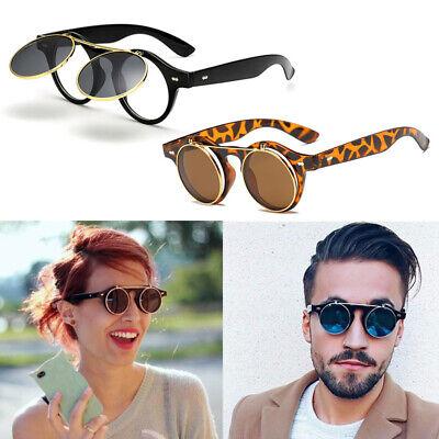 Steampunk Retro Sonnenbrille Rundbrille Flip up Linsen Hippie für Herren Damen
