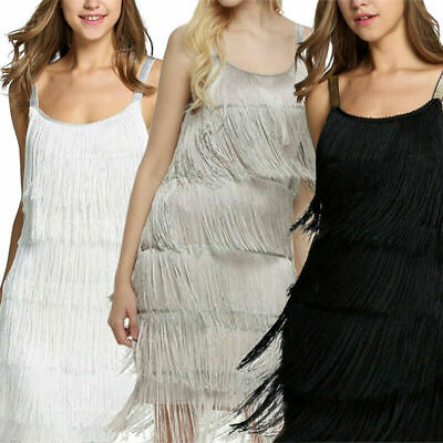 1920s Sequins Dress Vintage Flapper Great Gatsby Fringed Cocktail Party Dresses