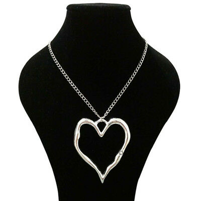 Abstract Heart Necklace - Large Statement abstract metal heart pendant on long Chain necklace Lagenlook
