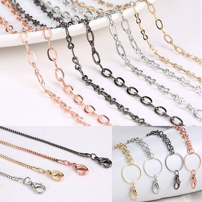 Wholesale 4 Styles Chain For Floating Charm Glass Locket Link Necklace Pendant (Floating Lockets Wholesale)