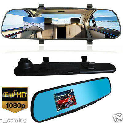 "170°Full HD 1080P 2.8"" Video Recorder Dash Cam Rearview Mirror Car Camera DVR"