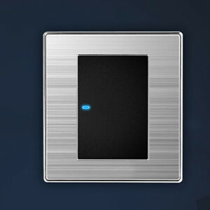 led wall light switch brushed stainless steel 1 way 1 gang. Black Bedroom Furniture Sets. Home Design Ideas