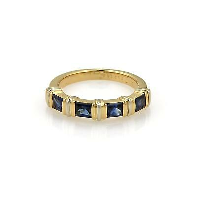 - Cartier 1.00ct Princess Cut Sapphire 18k Gold Stack Band Ring Size 52 Cert