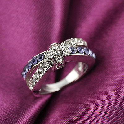 Criss Cross New Purple Amethyst Rings Jewelry 6-10 Size Ring White Gold Plated