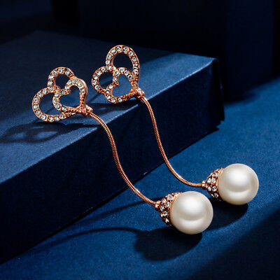 18K Rose Gold Filled Gorgeous Double Heart Diamond Pearl Drop Earrings  (Diamond Double Heart Earrings)