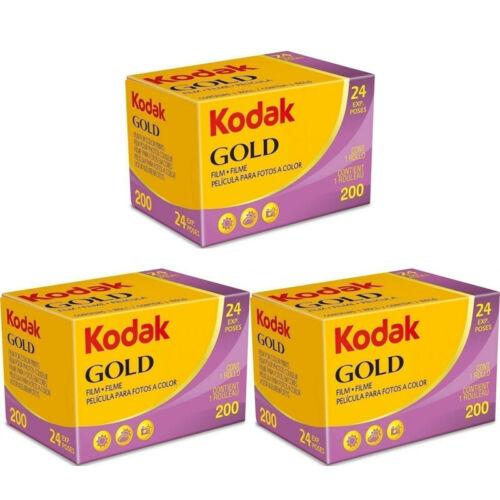 3 Rolls Kodak Gold 200 24 Exposure 35mm Color Print Film
