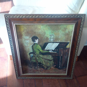 Vintage Painted Picture, Woman Playing Organ/Piano Kitchener / Waterloo Kitchener Area image 1