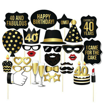 28pcs Black Photo Booth Props 30th 40th 50th Adult Birthday Fun Party Games Prop - Photo Booth Fun Props